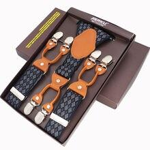 Fashion Men s Suspenders 6 Clips leather Braces Trousers Suspensorio Pants Strap Adjustable elastic ligas