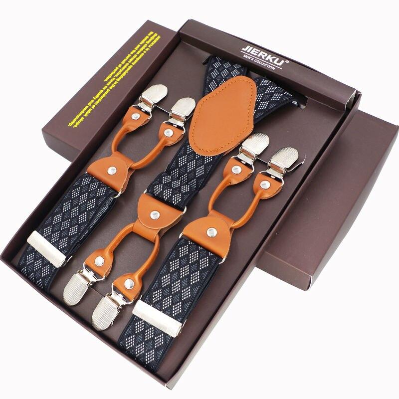Fashion Men s Suspenders 6 Clips leather Braces Trousers Suspensorio font b Pants b font Strap