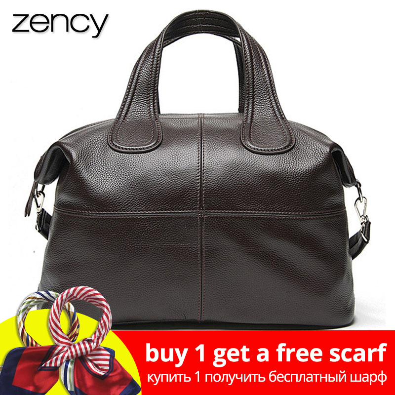Zency 100% Kulit Asli Wanita Handbag Coffee Ladies Tote Bags Classic Black Messenger Crossbody Purse Boston Shoulder Bag