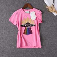 Ky Q Spring Harajuku UFO Sequin Pink T Shirts Women 2018 Fashion Gold Embroidery O Neck