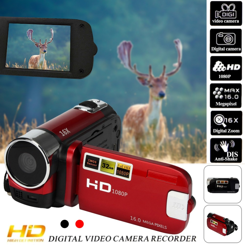 1080P FHD Anti-shake 16M Pixal CMOS 16X Digital Zoom Video Camcorder Camera DV Filmadora Camera fotografica with Cable Charger
