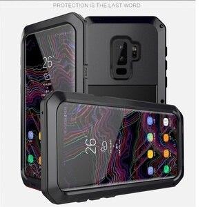 Image 1 - Ağır güçlü darbeye dayanıklı su geçirmez Metal alaşım temperli cam Metal kapak cep telefonu kılıfı için Samsung S9 S9 artı S10