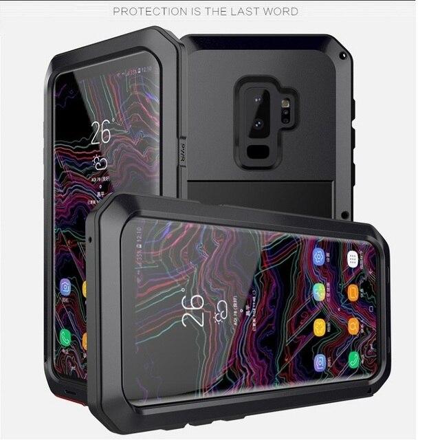 Ağır güçlü darbeye dayanıklı su geçirmez Metal alaşım temperli cam Metal kapak cep telefonu kılıfı için Samsung S9 S9 artı S10