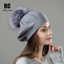 [Rancyword] Women Beret Wool Hat Knitted Berets Real Fur Pompom Cap Top Quality Winter Hats Beanies RC2047