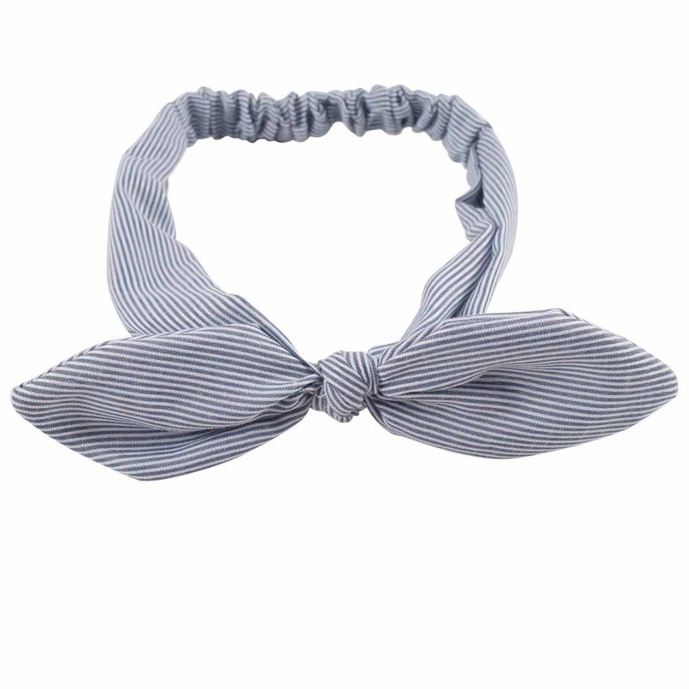 2 Pieces Fashion Korean Cloth Bunny Ears Hairband Women Hair Accessories Wide Striped Fabric Bow Knot Headbands For Women