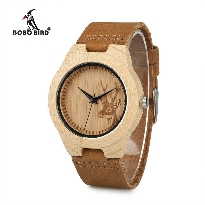Deer Head Design Mens Women's Size Bamboo Wooden Watches Luxury Wooden Quartz Watches With Brown Leather Strap