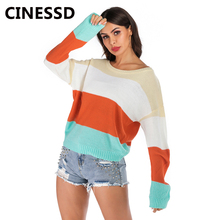 CINESSD Colorful Casual Knitted Sweaters Round Neck Batwing Long Sleeves Striped Block Loose Women Pullovers Sweater Tee Shirts color block striped tee