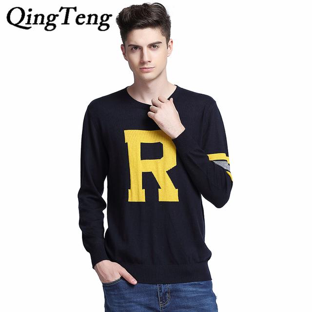 QingTeng Venda Quente Camisa de Manga Comprida Camisola Dos Homens O-pescoço Homens Pullover Moda R Carta Puxar Homme Primavera Outono Blusas de Marca