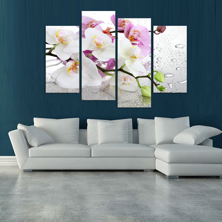 4 Panels White Flowers Plant Art Wall Modular Paintings Print On Canvas For Home Decor Ideas