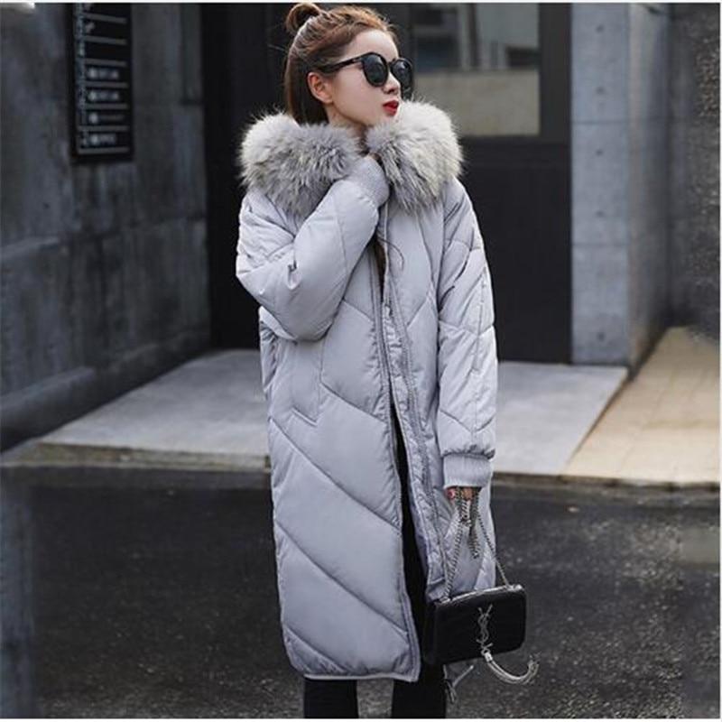 New Women Winter Long   Down     Coat   Big Fur Collar Fashion Female Duck Parkas Jacket Thick Warm Elegant   Down     Coat   Slim Wadded Jacket