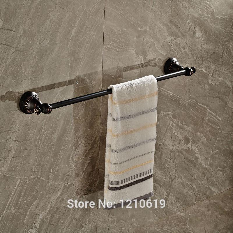 newly single tier bathroom towel bar shelf oil rubbed bronze bath towel rail rack wall mounted - Bathroom Towel Bars