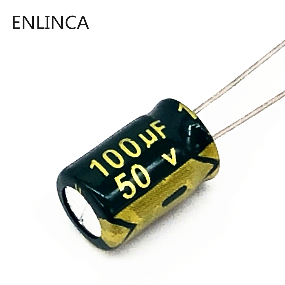 20pcs/lot P74 High Frequency Low Impedance 50V 100UF Aluminum Electrolytic Capacitor Size 8*12 100UF 20%