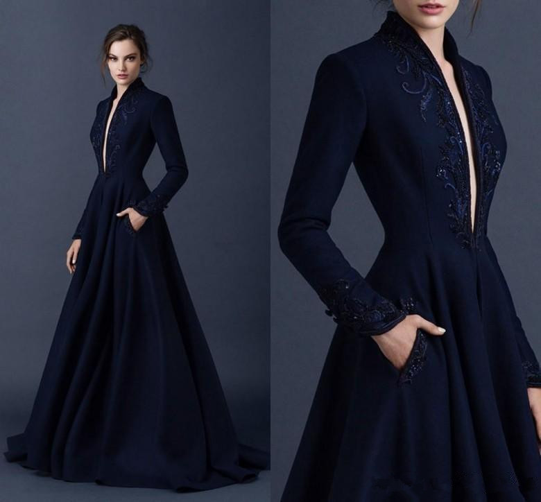 Navy Blue Muslim Evening Dresses 2019 A-line V-neck Long Sleeves Lace Beaded Islamic Dubai Saudi Arabic Long Evening Gown Prom