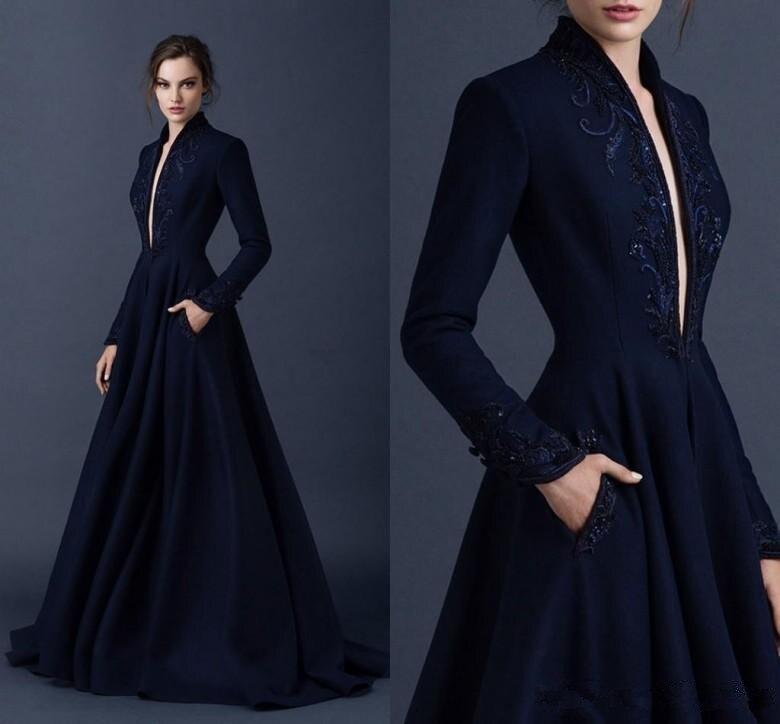 Темно синее мусульманское вечернее платье А силуэта с треугольным вырезом и длинными рукавами, кружевное, украшенное бусинами, длинное веч