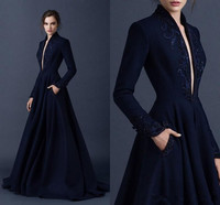 Navy Blue Muslim Evening Dresses 2019 A line V neck Long Sleeves Lace Beaded Islamic Dubai Saudi Arabic Long Evening Gown Prom