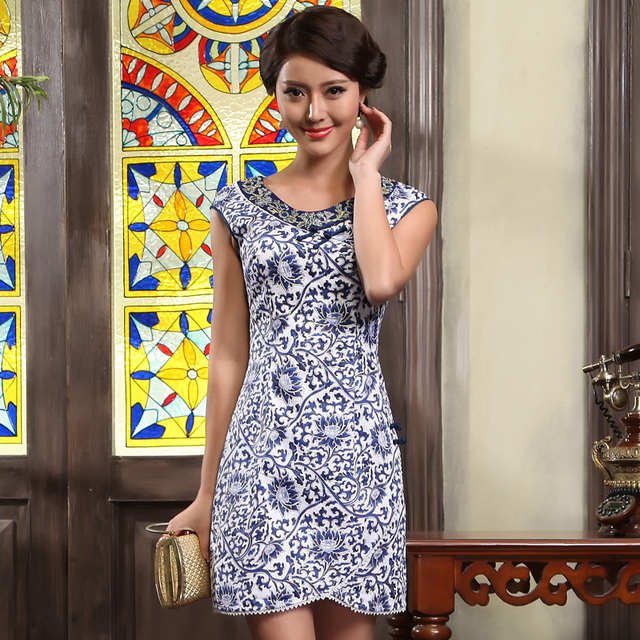 Blue and white fashion of improved cheongsam summer design short cheongsam dress 2013 summer g13307