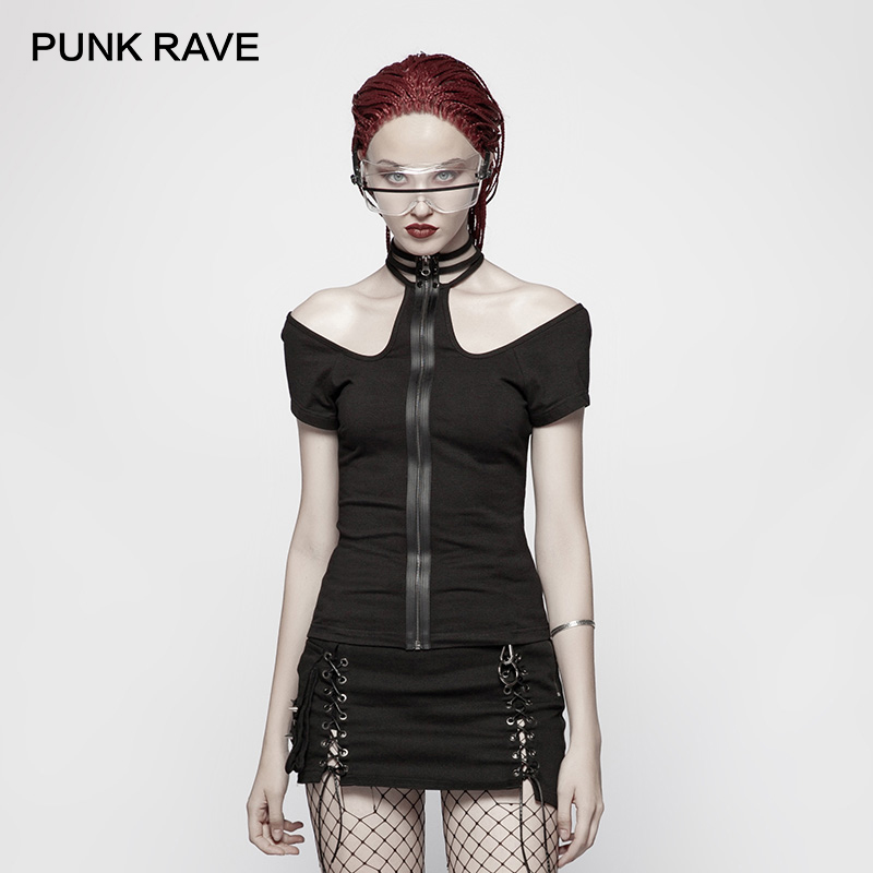 PUNK RAVE New Women Punk Rock Military Short Sleeve T shirt Cotton Knitted Black Gothic waterproof Zipper Placket Sexy Tops Tees