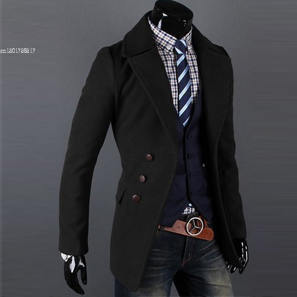 Men's Overcoat Single-breasted Luxury Wide-lapel Winter long trench Coat Jacket 2 Colors 4 Sizes