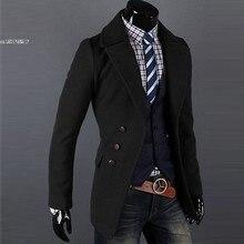 Мужская Шинель однобортный Роскошные Широкий лацкан зиму пальто Куртки 2 Цвета 4 Размеры
