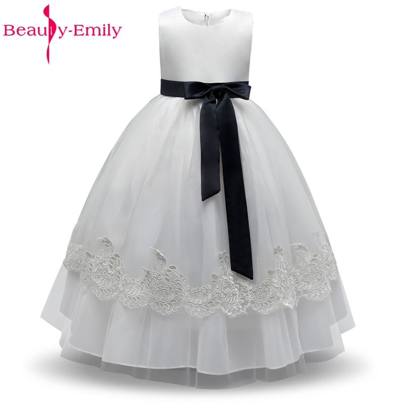 Beauty-Emily White   Flower     Girl     Dresses   for Weddings And Party Events Prom   Dress   2017 Princess   Dress     Girls   Evening Gowns