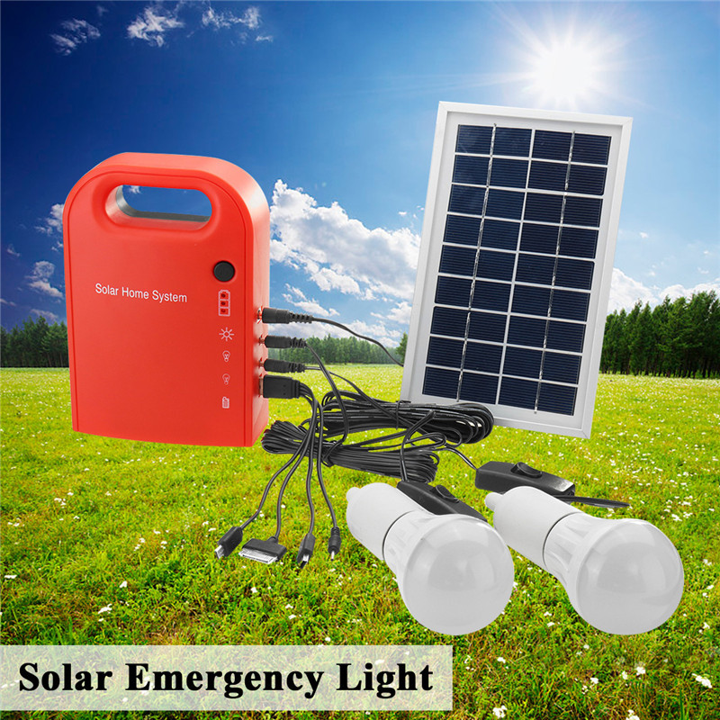 цена на CLAITE Portable Large Capacity Solar Emergency Light 2 LED Lamp with USB Cable Battery Charger Emergency Lighting System