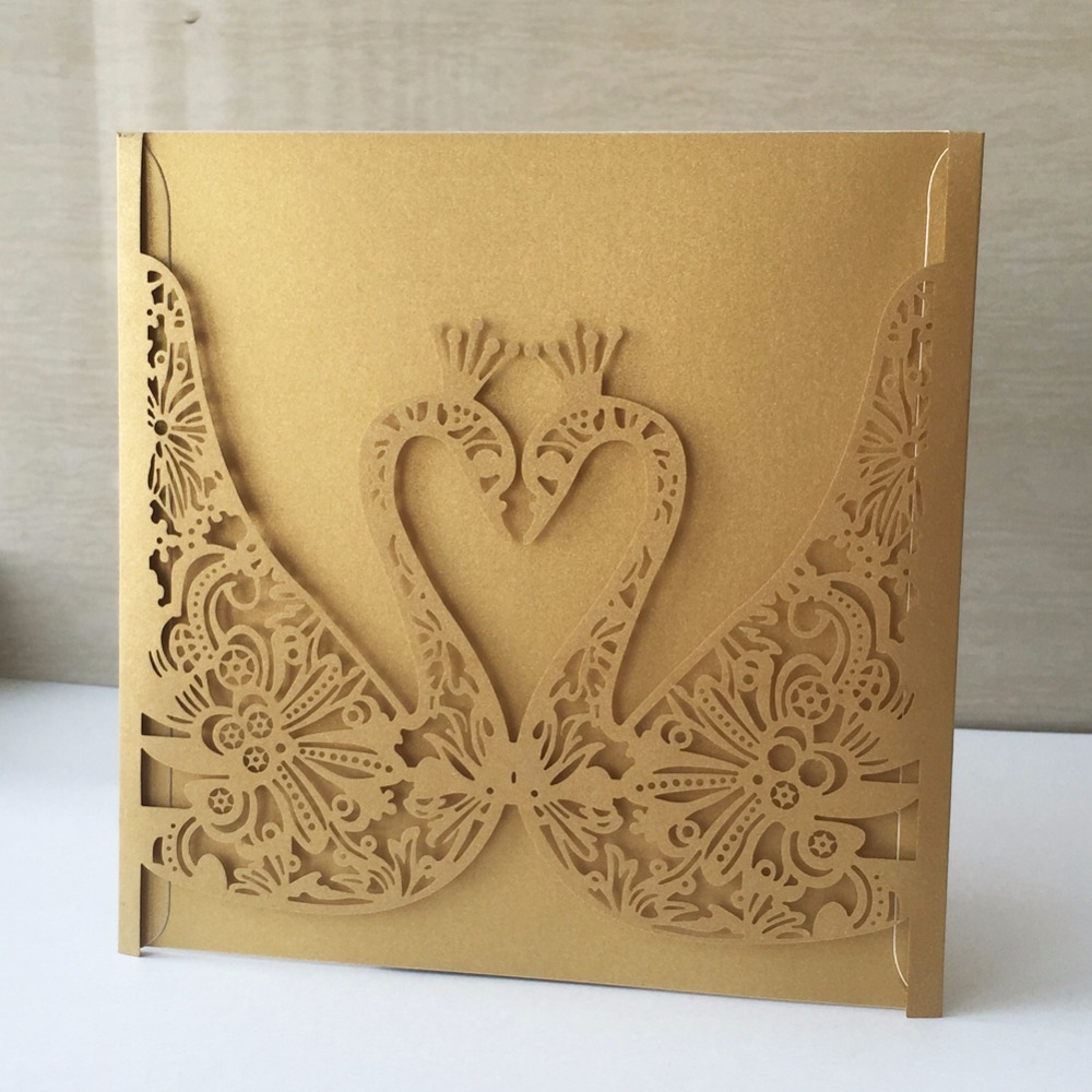Wedding Invitations Business: 25pc Laser Cut Swan Pattern Elegant Wedding Invitations