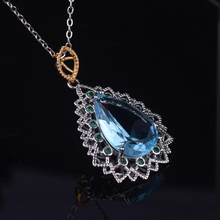 Exquisite 925 Sterling Silver Necklaces Women Jewelry Fine Crystal Sea Blue Water Droplets Green Zircon Necklace Birthday Gifts