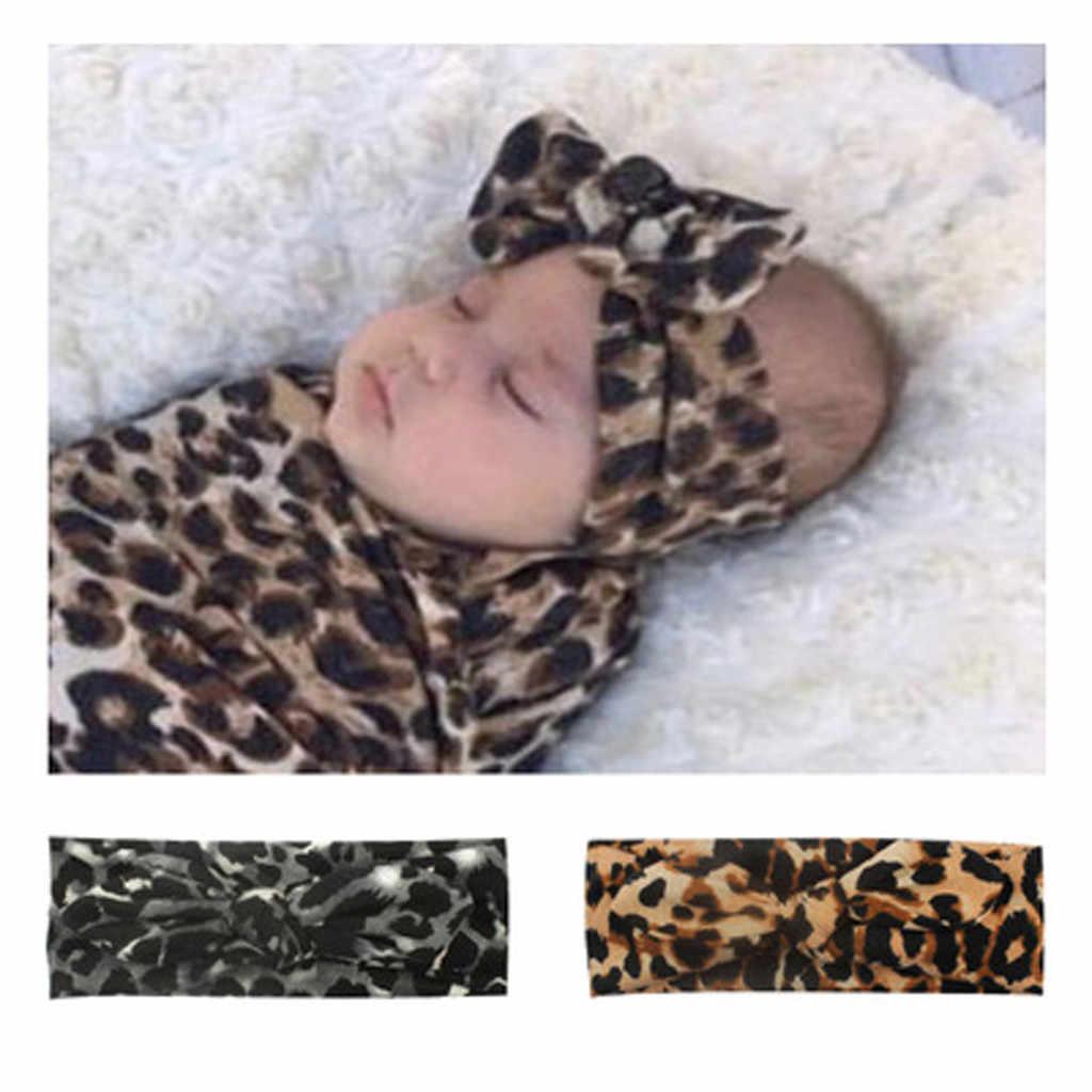 Bebé niñas diadema turbante pañuelo bebé niños leopardo vendas sombreros niños Orejas de conejo arco elástico banda de pelo accesorios