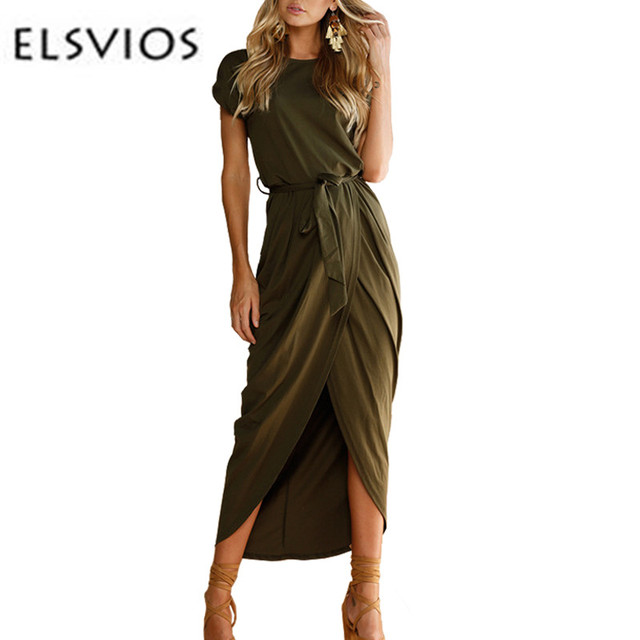 e4bf73f37ec7 ELSVIOS 6 Colors Sexy Summer Dress Lady Outfit High Split Casual Long Maxi  Dress Solid Women s Retro Dresses With Belt Vestidos