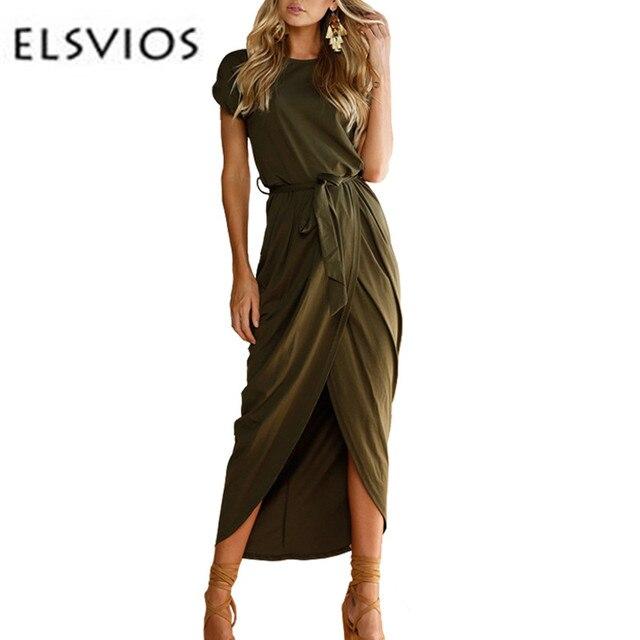 Elsvios 6 цветов пикантные летние платье леди наряд Высокое Разделение Повседневное длиной макси платье Твердые Для женщин ретро Платья для женщин с поясом Vestidos