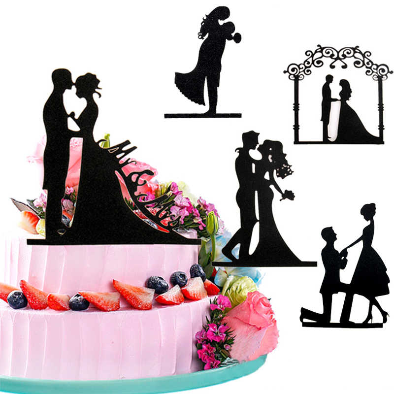 New Wedding Cake Topppers Black Cake Top Flag Bride Groom Cake Topper Decorations for Mariage Party Supplies Adult Favors