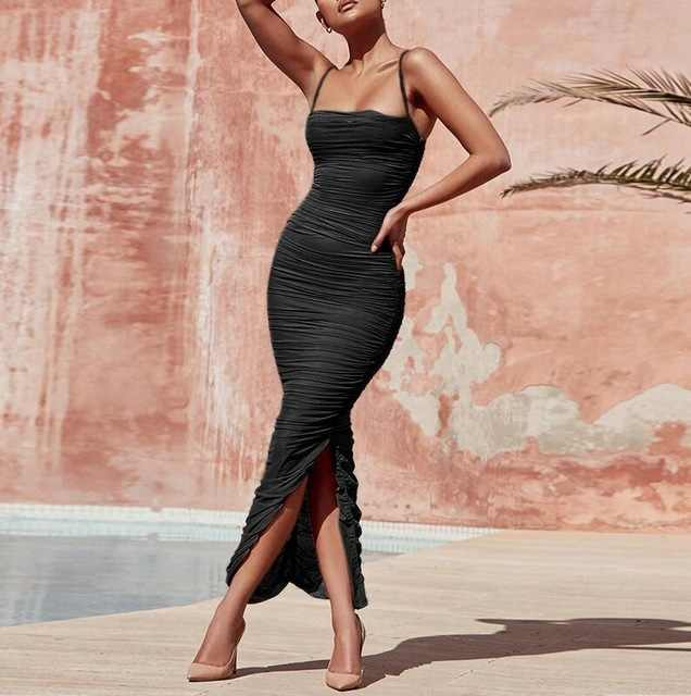 e47909517d 2018 New Arrival summer Sexy Party Long Bodycon Dresses for Women Spaghetti  Straps Tan Ruched Organza Mesh Maxi Dress