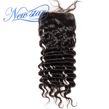 New Star Hair Brazilian 4''x4'' Silk Based Closures Deep Wave Virgin Human Hair Bleached Knots With Baby Hair Natural Color(China)