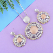 SisCathy Deluxe Dubai Nigerian Women Wedding Chains Necklace Dangle Earrings Jewelry Sets Full Cubic Zirconia Inlaid Jewelry siscathy fashion wedding jewelry sets flower shape pendant chains necklace stud earrings cubic zirconia inlaid jewelry for women
