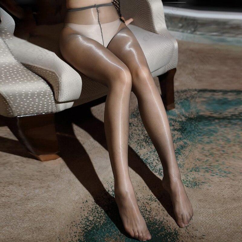 Sexy de mujer medias Ultra delgado medias Super brillante de medias de cintura alta Collant Femme transparente tentación Collants