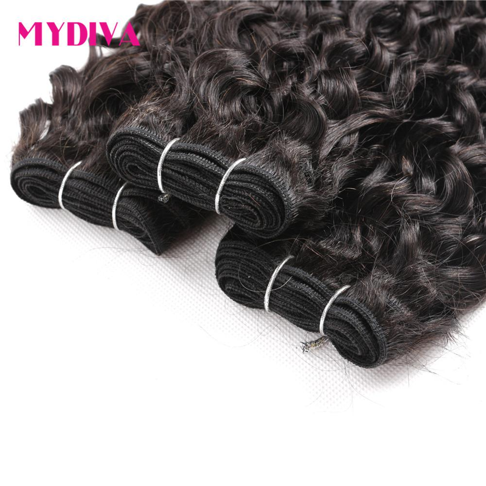 Peruvian Water Wave Bundles 100% Human Hair Weave Bundles Non Remy Hair Extensions 1 PC Natural Black Color Can Be Dyed Mydiva