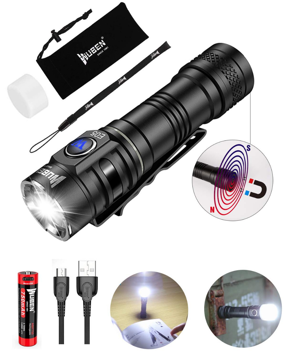 WUBEN E05 EDC LED Flashlight 900 Lumens USB Rechargeable 6 Modes Handsfree Waterproof Mini Torch with 14500 Battery Included