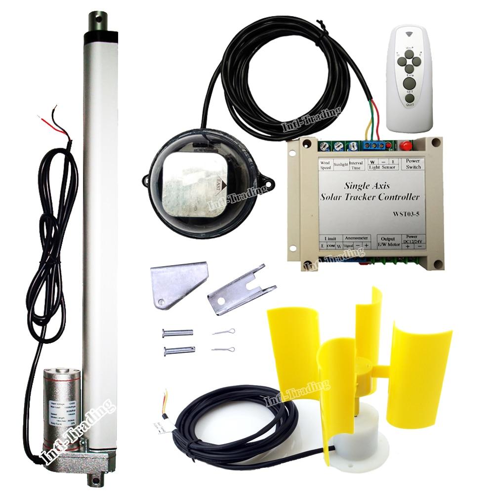 1000W KW 12V DC Motor Single Axis Solar Tracking Sun Tracker Kit E W 14 Linear