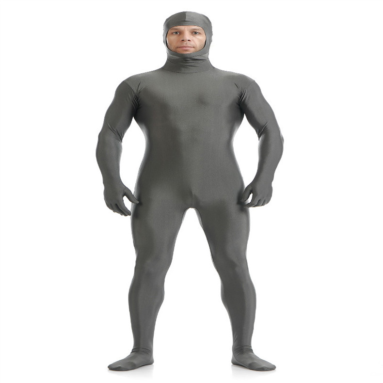 (SOF005) Gray Lycra Spandex Full Body Fetish Zentai Skin Tights Unisex Bodysuit Cosplay Costume Unitard Jumpsuit Dancewear