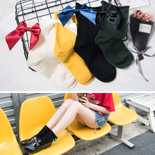 Candy Color Ladies Bow knot Sox Big Bow Pile Of Female Sock Hot Lovely Bow Socks Casual Female Color Short Socks