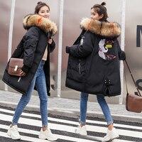 Big Fur Collar Winter Coat Women Thicken Warm Parkas Mujer 2019 Korean Long Down Cotton Padded Female Jacket Plus Size 3XL YQ295