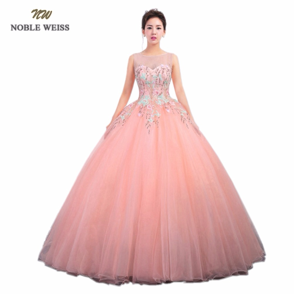 NOBLE WEISS Blue Pink Quinceanera Dresses With Lace Ball Gown Organza New Style Sexy Formal Prom