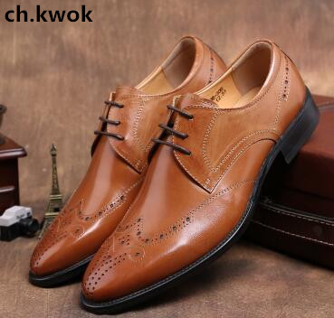 CH.KWOK handmade men's leather shoes carved gentleman leather lace low noble men's shoes men Oxfords elegant wedding oxfords