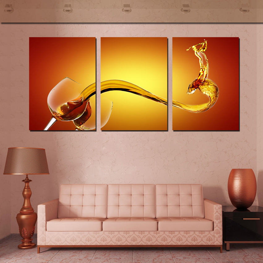 Art Room Decoration School Of 3 Piece Wall Art Pictures Wine Splash Painting On Canvas