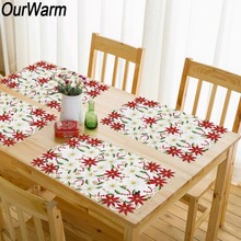 OurWarm Polyester Christmas Placemats Embroidered Table Cloth Merry Decoration New Year Gifts 11x17 inch