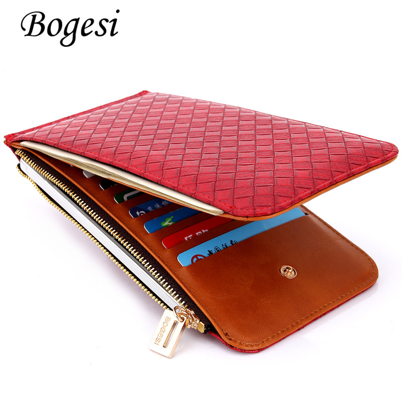 New Multifunction Women Wallets 5 Colors womens PU Leather Zipper Wallet Card Holder Pocket Purse Hot Plaid Pounch Fashion