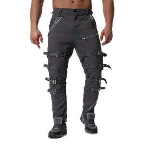 Image 4 - Pantalones Cargo con cremallera de decoración de Metal de alta calidad, Jogger de Hip Hop, pantalón de chándal urbano, ABZ183