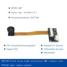 HBVCAM USB Camera Module  Fixed focus high resolution 5MP fisheye lens OV5640 cmos  camera module