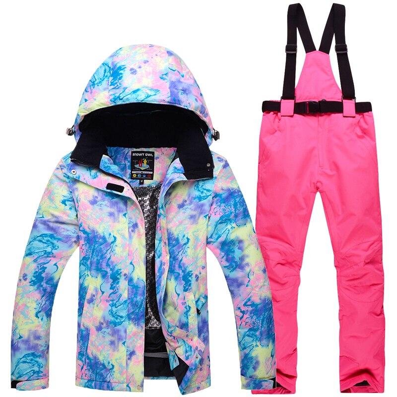 2018NEW Лыжный Спорт наборы женщины лыжные костюмы куртка и брюки Комплекты для сноубординга зимние уличные clouthes очень теплый Водонепроницаем...