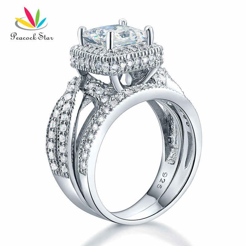 Pfau Stern Einfarbig 925 Sterling Silber Hochzeitstag Verlobungsring Set Vintage Stil Prinzessin CFR8234